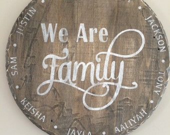 Wood Family Sign, round wood sign, personalized