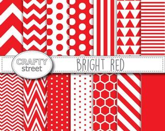 red digital paper,digital paper,scrapbook paper,digital paper pack,red,digital background,red and white,red scrapbook paper,red chevron