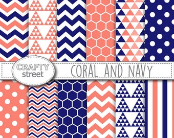 Coral and Navy digital paper, Digital paper, Digital paper pack, Scrapbook paper, Navy, Printable paper, Scrapbooking, Chevron, Geometric
