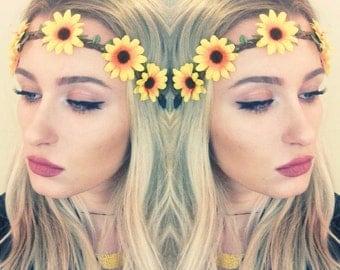 Sunflower Headband. Flower Crown. Hippie Headband. Stretchy adjustable band. Flower headband. Yellow headband. Sunflower Halo