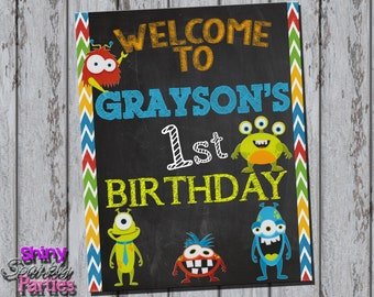 Printable MONSTER PARTY Chalkboard SIGN - Monster Bash Sign - Little Monster Birthday Party Decoration - Monster Welcome Sign  Monster Decor