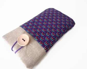 Fabric iPhone 6s Case iPhone 6s Plus Case iPhone 4S iPod Touch 6g pouch iPhone 5S protective ipod classic Nexus 6 - Linen, purple pockets