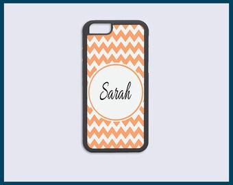 Personalized Monogram iPhone 6/6s Cases iPhone 6/6s Plus Case iPhone 5C Case iPhone 5 5s 4 4s Cases - Tangerine Chevron Iphone case