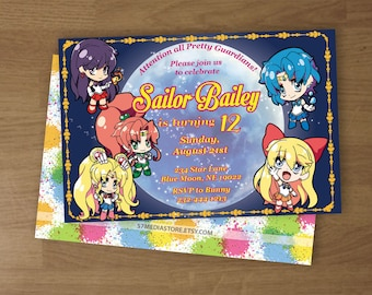 Sailor Moon - Birthday Party Invitation - Digital Printable Custom Invitation - 4 x 6  or  5 x 7