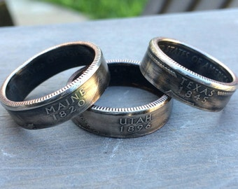 State Quarter Coin Rings Coin Jewelry - Sizes 5-12