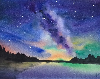 ORIGINAL Watercolor Landscape Painting 5x7, Milky way, Galaxy Art, Watercolor Night Sky, Watercolor Milky Way