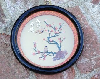Chinese Round Framed Carved Stone Art With Brass Hangar Birds Cherry Blossoms
