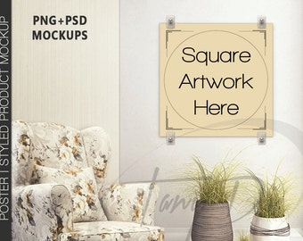 Square Poster on Interior Wall | Set of 2 poster | Armchair interior | Plastic Clip Hanging Poster | Wall Art Display Mockup | 4 PNG scene