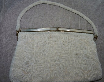 Vintage white seed pearl mother of pearl bag