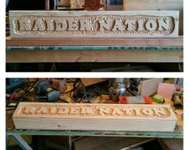 Custom carved mantle piece.