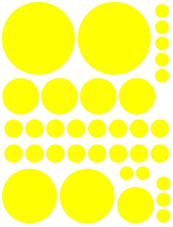 70 Bright Yellow Vinyl Polka Dots Bedroom Wall Decals Stickers Teen Kids Baby Nursery Dorm Room Removable Custom Made Easy to Install