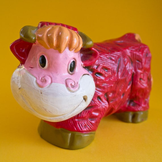 1970s Kitschy Mod Pink and Red Cow Coin Bank