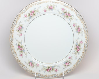 1950s NORITAKE, Somerset Dinners Plates, Excellent Condition,  Porcelain, Pinks, Blues, Golden Yellows, Greens Floral Boarders w Gold Trims