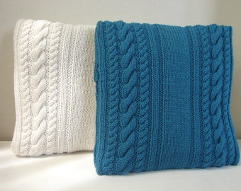 Knitting pattern cushion cover with cables, pattern pillow case 6 cables, cable pillow case tutorial Pdf knitting pattern Aran cable knit