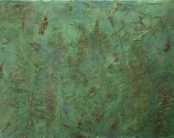 Large Abstract Acrylic Painting Textured Painting Gold Painting Green Painting Fern Painting Modern Art Contemporary Art