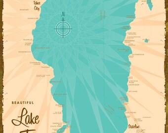 Lake Tahoe Map - Wood or Metal Sign