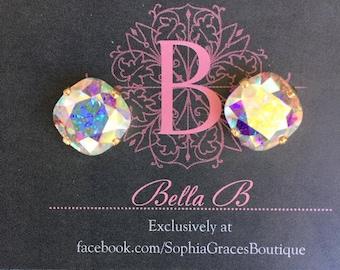 Bella B 12mm Crystal AB Swarovski Crystal  Studs