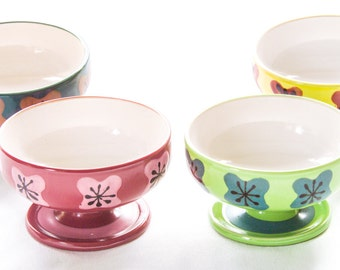 "Bowls Ceramic Ice Cream Dessert Bowls Jonas Roberts MCM Patterns Green Blue Yellow Pink Black 4 3/4"" Footed Bowls"