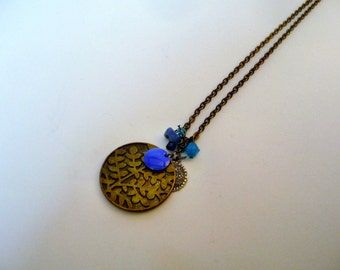 Yildun - Blue and bronze chain necklace