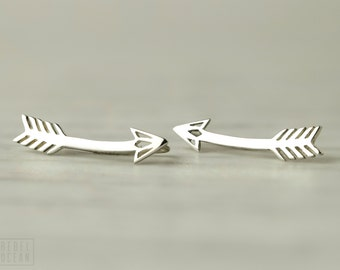 Arrow Earrings Sterling Silver Ear Cuff American Native Ear Sweep Pin Earrings Boho Jewelry - FES019 T2
