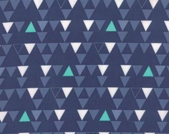 Color Theory Teal White Blue Triangles on Navy Blue by Vanessa Christenson for MODA - 10832-15