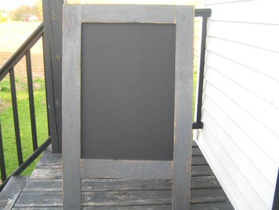 Rustic sandwich chalkboard dark gray distressed sidewalk chalkboard  Weathered A frame, easel, outdoor chalkboard