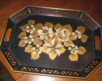 Vintage black/gold tole painted tray