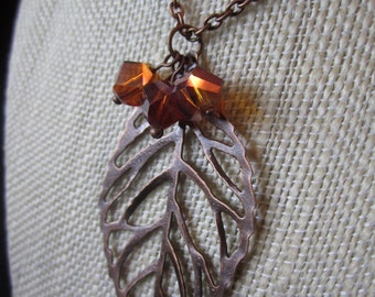 Intricate Copper Leaf with Amber Crystals Necklace