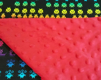 Large Space invaders minky baby toddler blanket