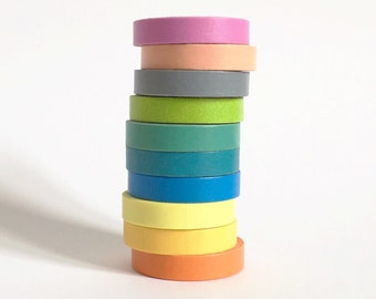 Thin Washi Tape Set of 10 masking tapes in rainbow colours