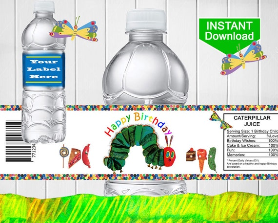 Hungry Caterpillar Printable Water Bottle Labels By Partymagik