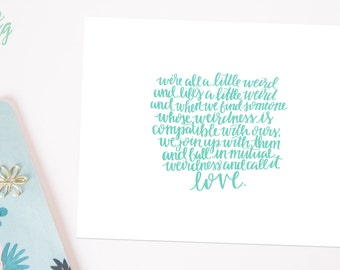 Dr. Seuss Mutual Weirdness - Hand Lettered Print