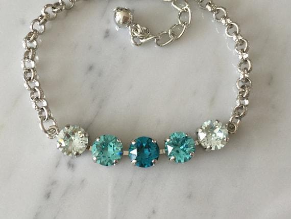 Light Turquoise Crystal Bracelet,  Swarovski Blue Crystal Bracelet, Blue Crystal Bracelet