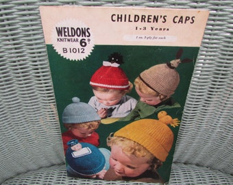 Vintage knitting pattern, children's hats, caps