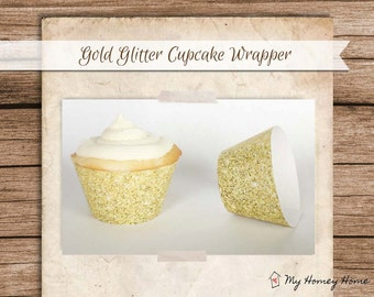 Gold Glitter Printable Cupcake Wrappers