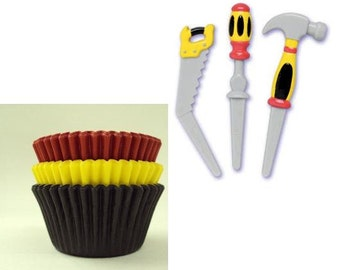 Tool Cupcake Picks with Assorted Color Cupcake Papers