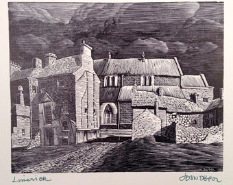 Limerick Ireland Wood engraved print by John DePol