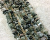 "Medium Green Rutilated Quartz Chip Beads - 15.5"" Strand (Approximately 125 Beads) - Measuring 7-8mm - Natural Semi-Precious Gemstone"