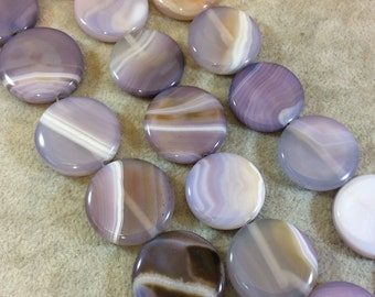 Purple Banded Agate Coin Beads, 25mm, approx. 16 beads per strand.