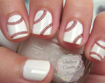Baseball nails | Etsy
