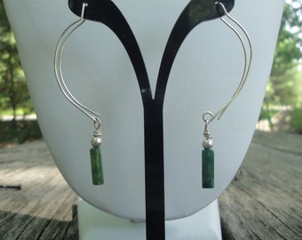 Green Tourmaline and Sterling Silver Earrings