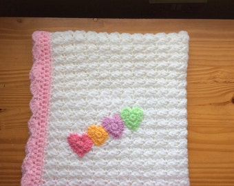 Crochet baby girl blanket with heart appliqué ready to ship