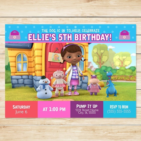 Doc McStuffins Invitation and Thank You Purple Dots // Doc McStuffins Invites // Doc McStuffins Birthday Party
