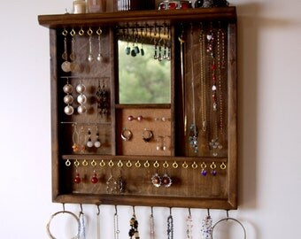 Jewelry organizer earrings display with mirror. necklace holder. WALNUT stain display with shelf. wall mount jewelry storage. earring holder