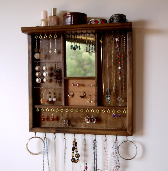 Decorative Wall Mirror Jewelry Organizer : Jewelry organizer earrings display with mirror necklace