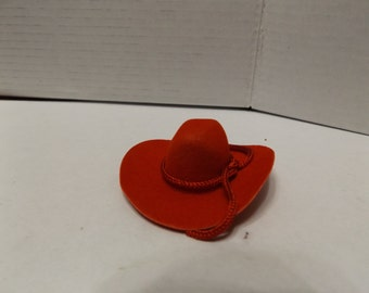 "Dollhouse Miniature Flocked 2"" Red Western Cowboy Hat"