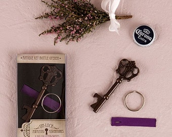 Set of 6 Antique Style Key Bottle Opener In Packaging - Personalized Wedding Favor - Bottle Opener  Wedding Favor - Personalized Party Favor