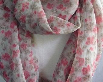 Summer Infinity scarf Loop Circle Cowl Tube light chiffon very light grey pink floral print Spring Autumn