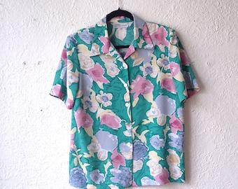 Vintage floral blouse short sleeve