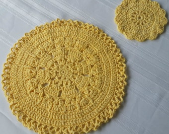 Crochet Placemats : cotton round place mats crochet placemats cotton coasters crochet ...